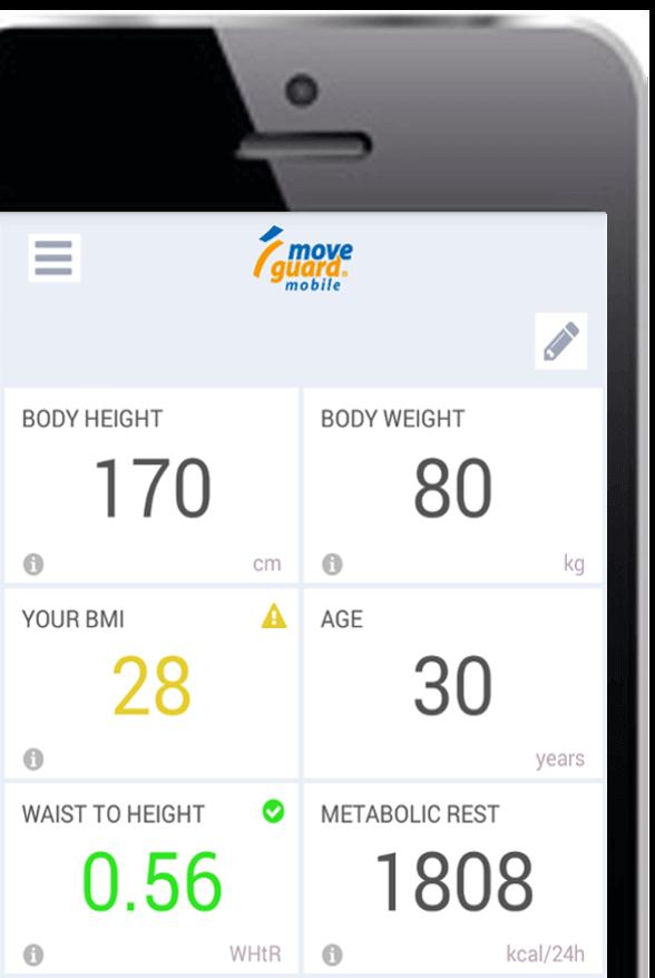 BMI calculator in the health check app
