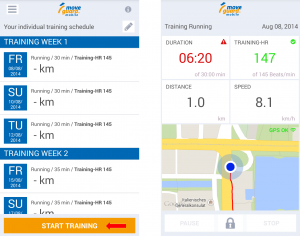 Start Training with the moveguard fitness app