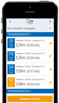 Individueller Trainingsplan in der moveguard Trainingsapp
